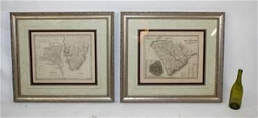2 antique framed Southern maps