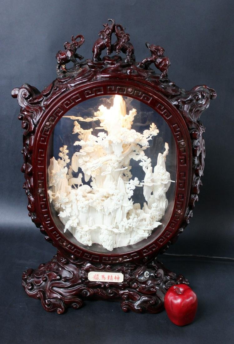 Chinese carved bone sculpture in shadow box
