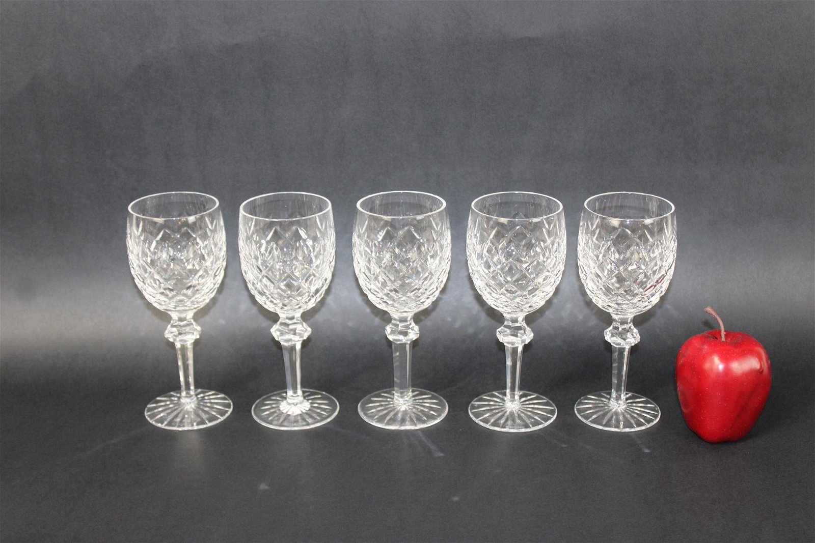 Set of 5 Waterford crystal wine goblets