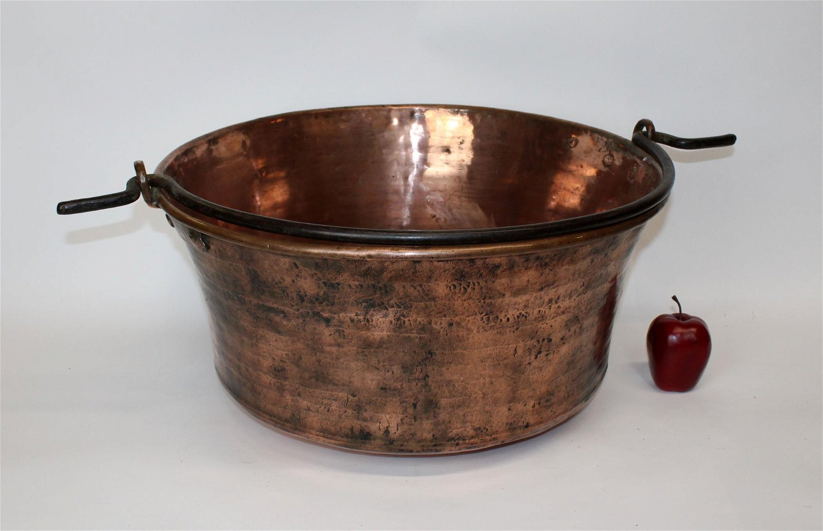Antique French copper hand hammered copper pot