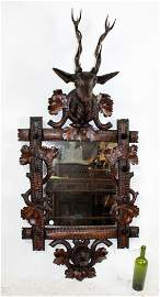 French Black Forest mirror with gun rack