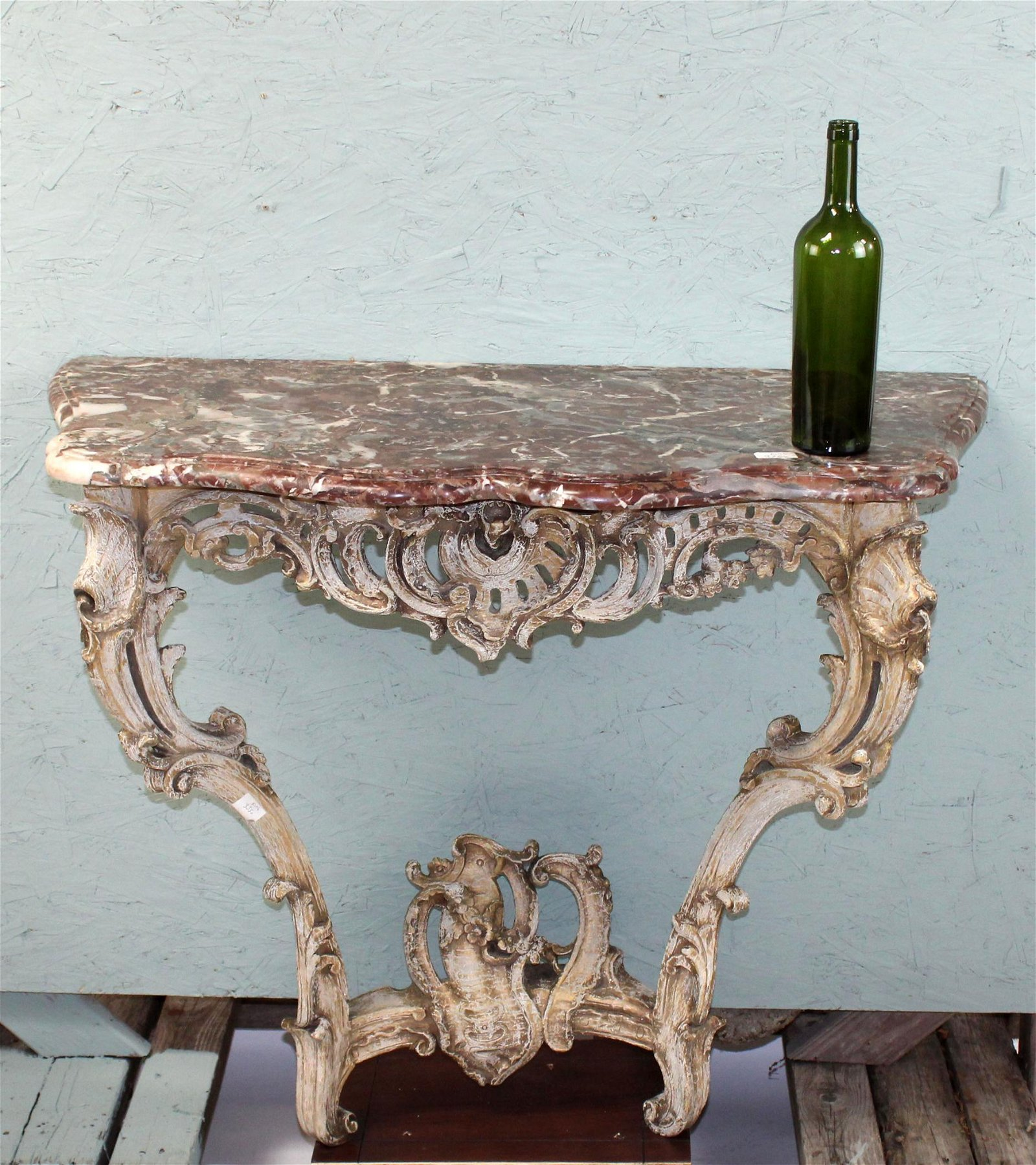 French Louis XV polychrome console with marble