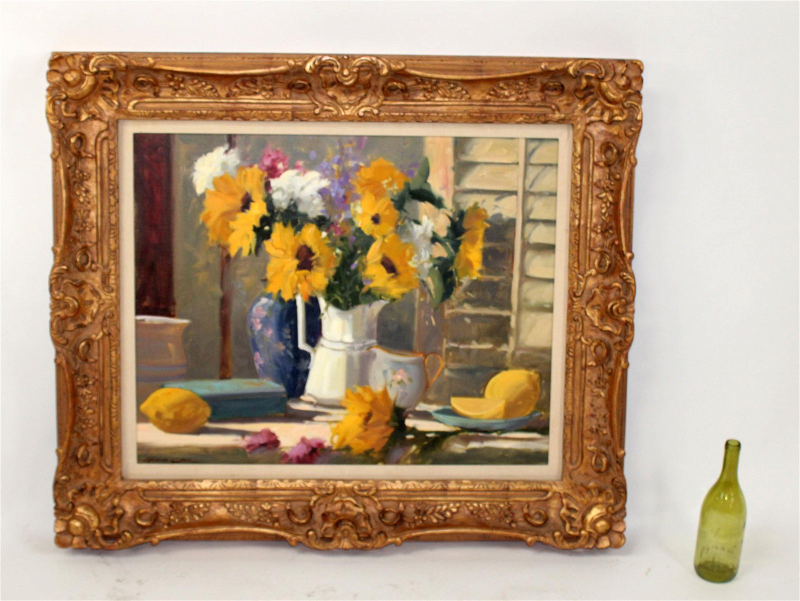 Howard Carr oil on board still life with sunflowers