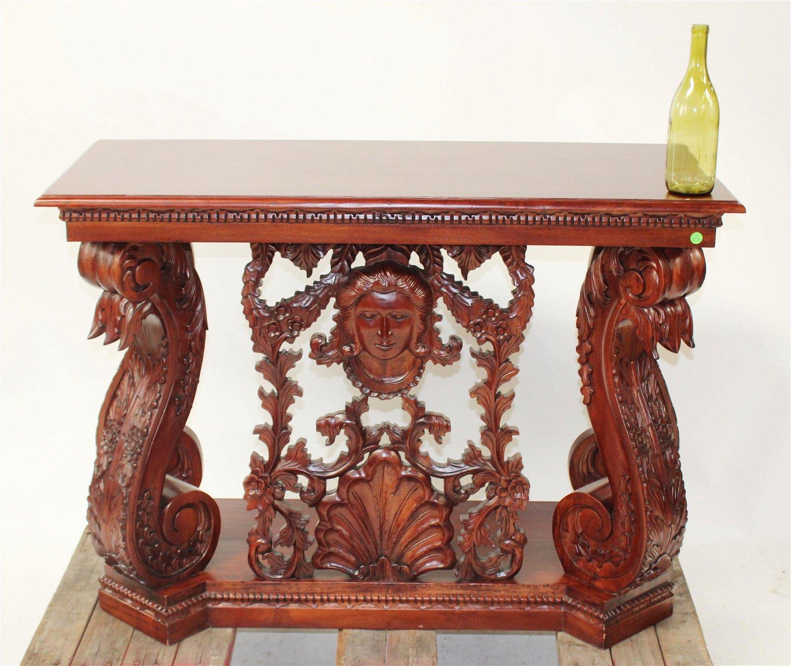 Renaissance style carved mahogany console