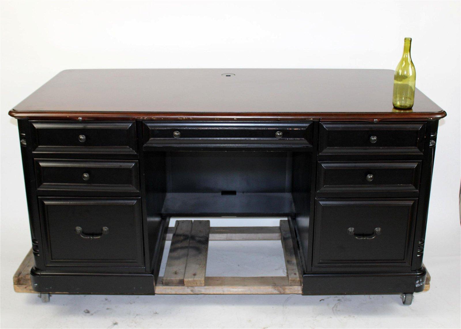 Ebonized executive desk with wood top