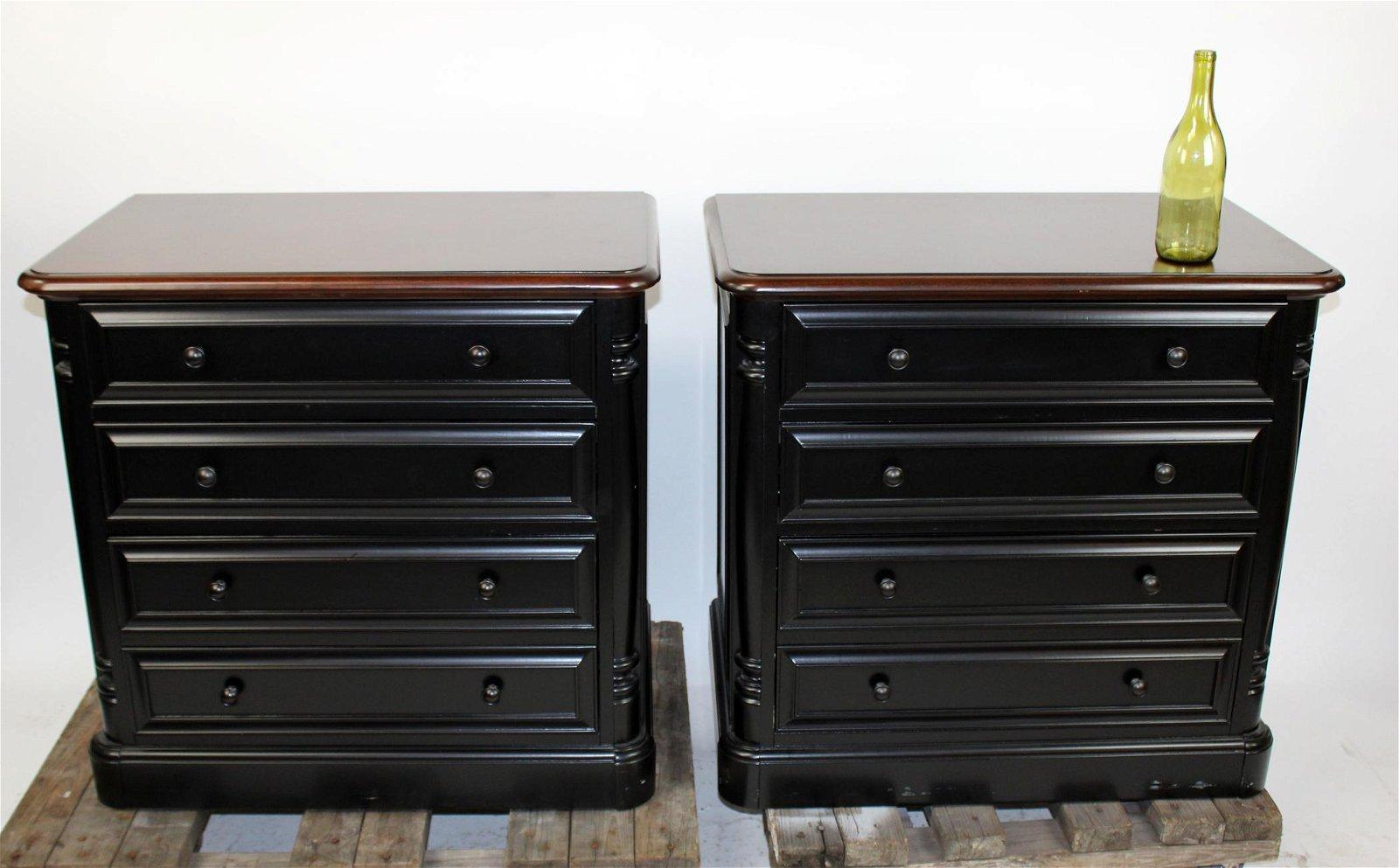 Pair ebonized file drawer cabinets