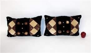 Pair of crushed velvet & faux fur pillows