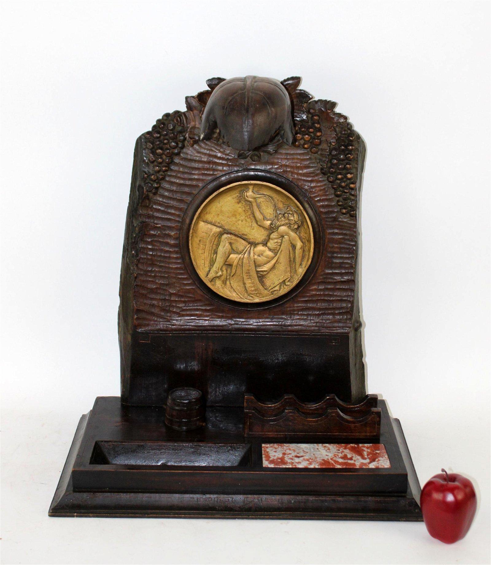 Art Nouveau carved walnut presentation desk set