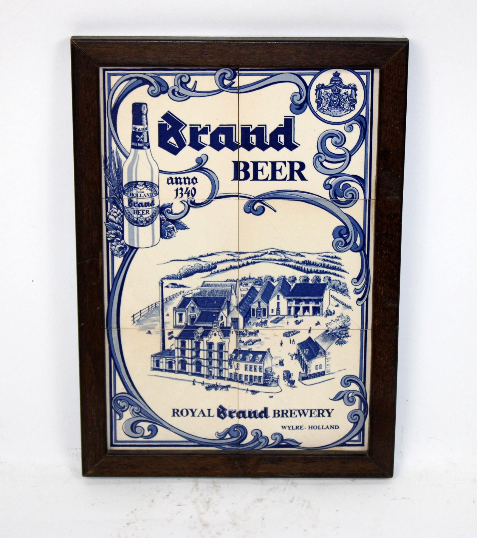 Framed Dutch Brand brewery tile sign