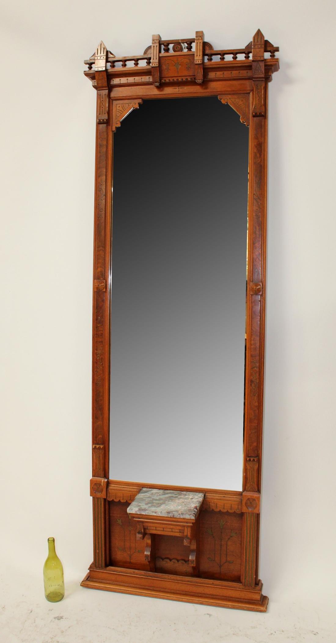American Eastlake pier mirror in walnut