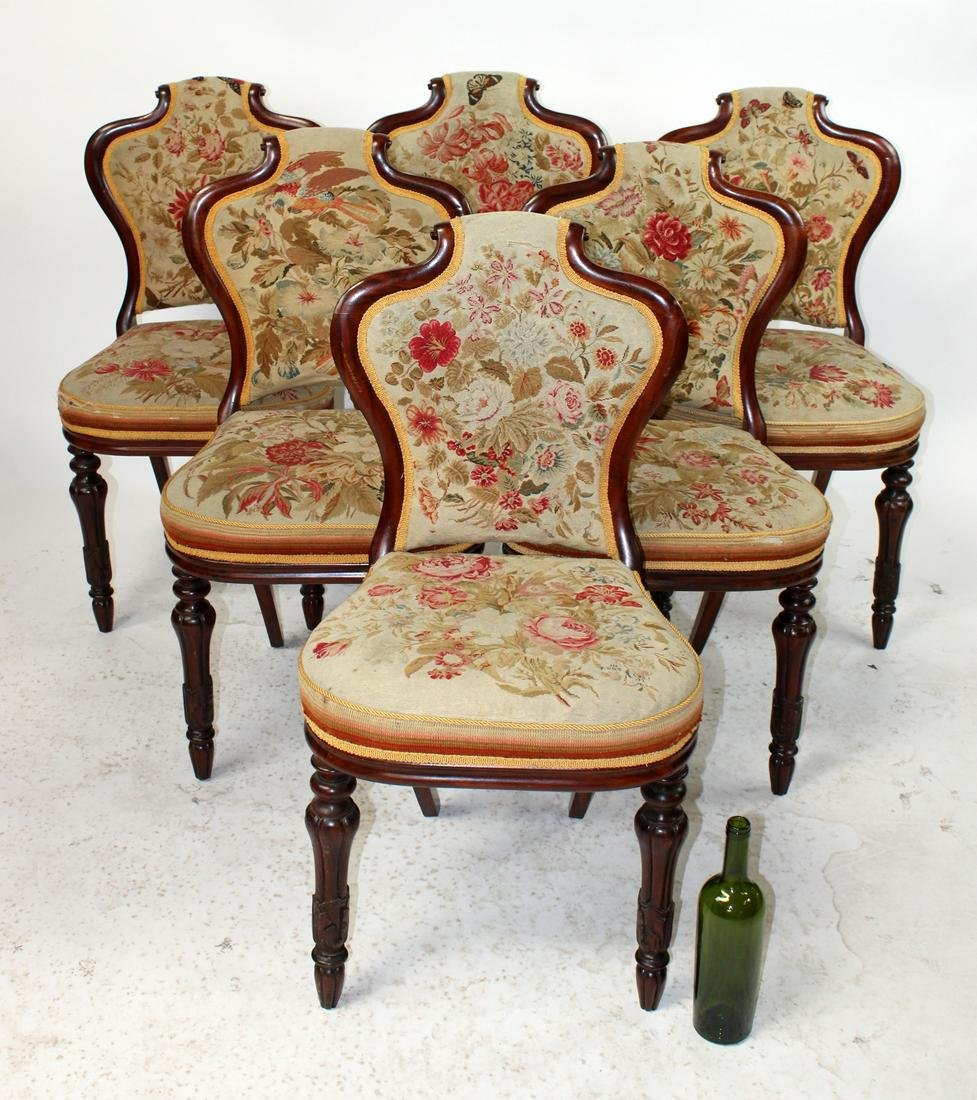 S/6 English rosewood chairs with petit point