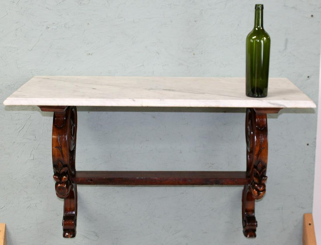 French walnut console with marble top