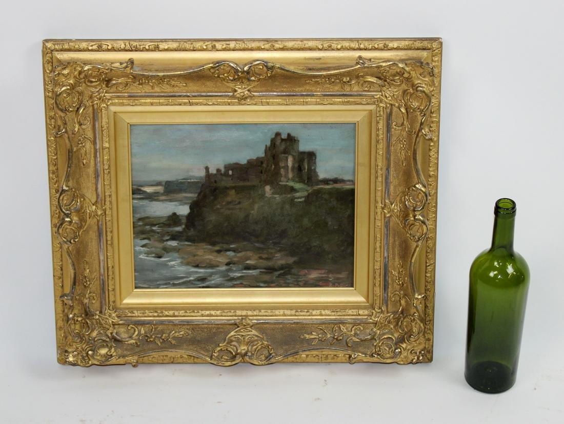 Oil on board depicting castle ruins