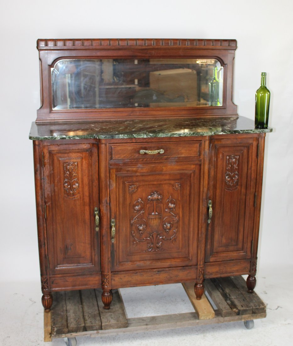 French Art Deco walnut server with marble