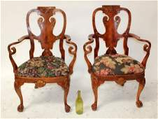 Pair of Chippendale style armchairs in mahogany