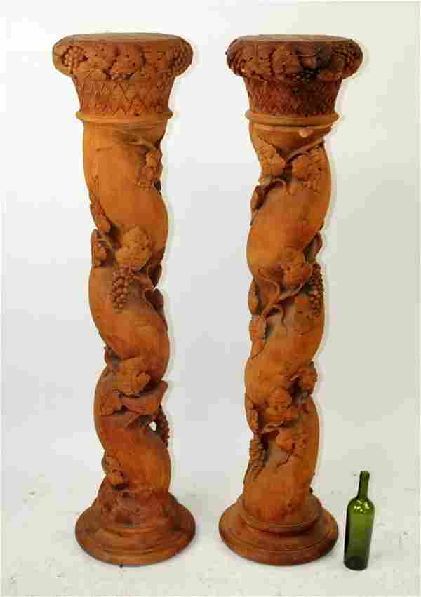Pair of French pine barley twist pedestals
