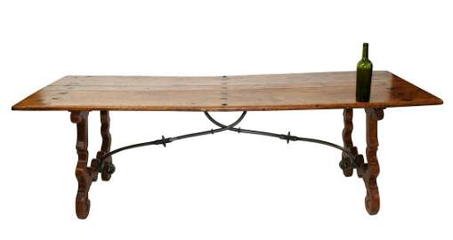 18th century Spanish trestle table with iron stretcher