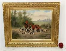 Oil on canvas English hunt scene