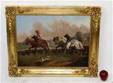 Oil on canvas pastoral scene boy on horseback