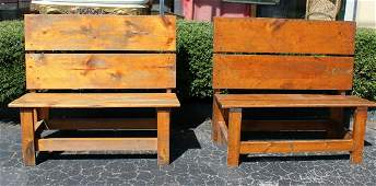 Pair of primitive pine benches