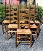 Set 6 primitive ladder back rush seat chairs
