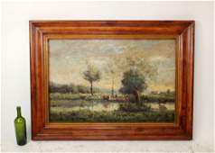 Oil on canvas pastoral landscape with cows