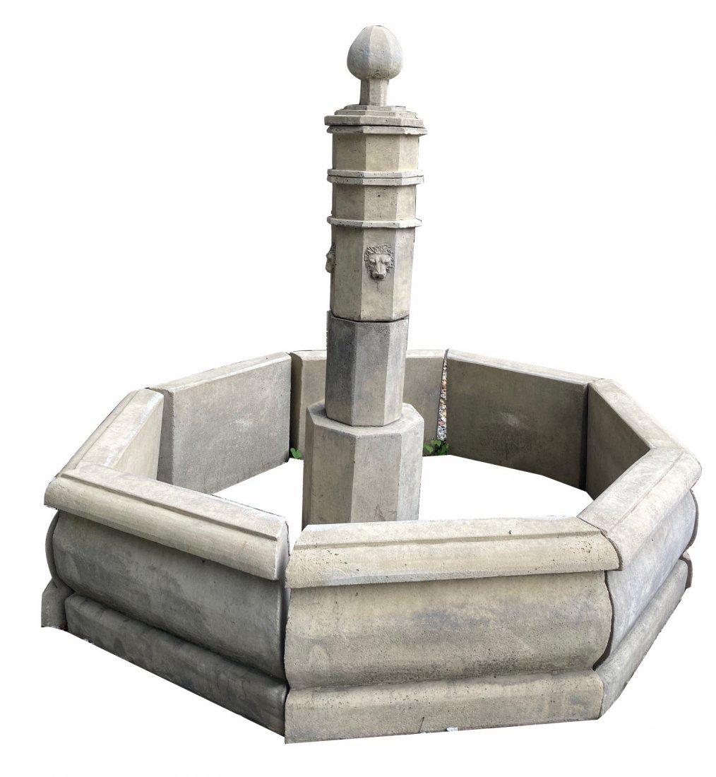 French Column cast stone fountain