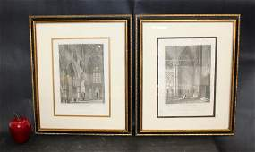 """""""Westminster Abbey"""" pair of bookplates"""