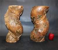 Pair of 18th c barley twist column fragments