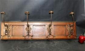 French oak & iron wall mount hat rack