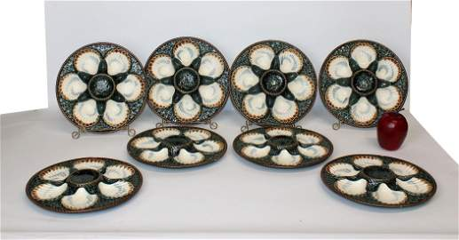 Set of 8 French Longchamps oyster plates
