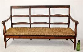 French Louis Philippe farmhouse bench in walnut