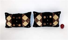 Pair of crushed velvet & faux fur throw pillows