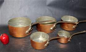 Nest of 5 French copper pots