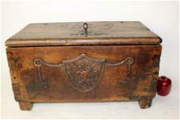 Antique French walnut small trunk