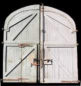 Pair French 10ft wood & iron stable doors
