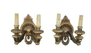 Pair of French polychrome wood sconces
