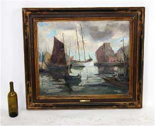 Antique French oil on canvas painting harbor scene