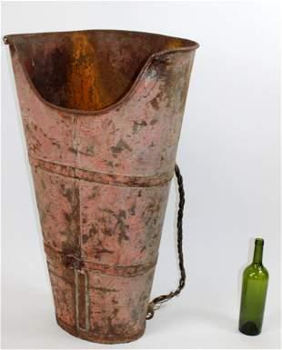 French metal grape harvest bucket