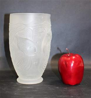 Czech frosted crystal vase with fish