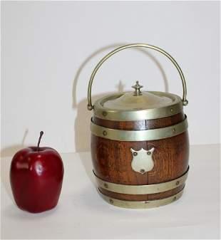 Antique English biscuit barrel in oak