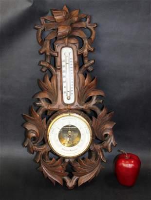 Dutch JM Schmidt barometer in carved walnut