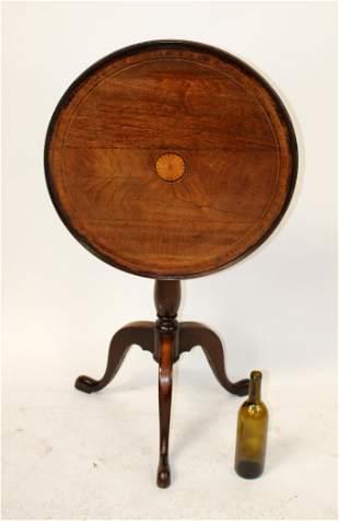 English Edwardian inlaid mahogany tilt top table