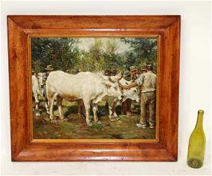 Oil on canvas pastoral landscape cows in field