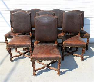 Set of 8 French carved walnut & leather chairs
