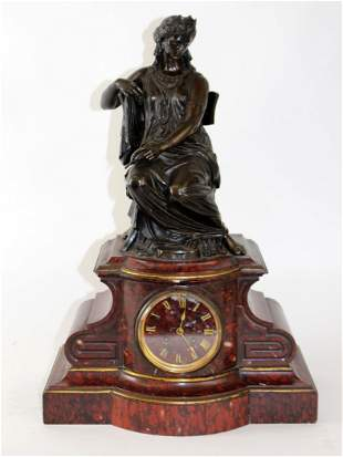 Antique French bronze figural mantel clock