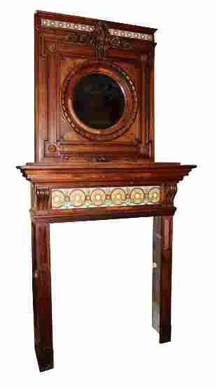 French Signed walnut mantel with tile and overmantel