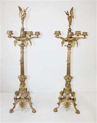 Pair French Empire Barbedienne bronze candelabra