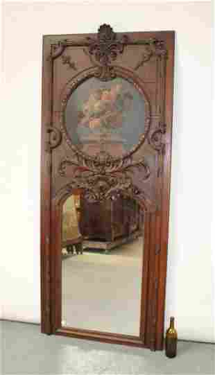 French Louis XV trumeau mirror with painting