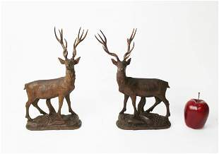 Pair of Black Forest figural deer carvings